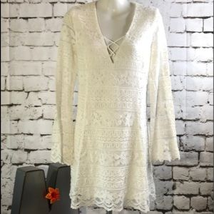 Nasty Gal - Lush Sz S Lace Lined Long Sleeve Dress
